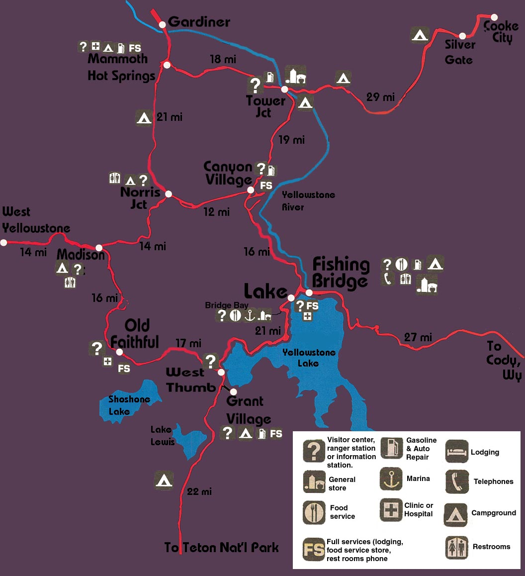 Yellowstone facilities map for Fishing bridge campground